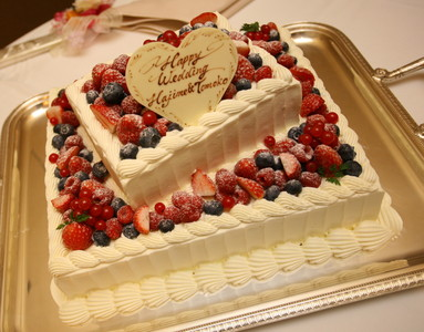 こんなに美味しいケーキがあるなんてッ!, ウエディングケーキ, 生ケーキ, イチゴ, ベリー, 2段, スクエア